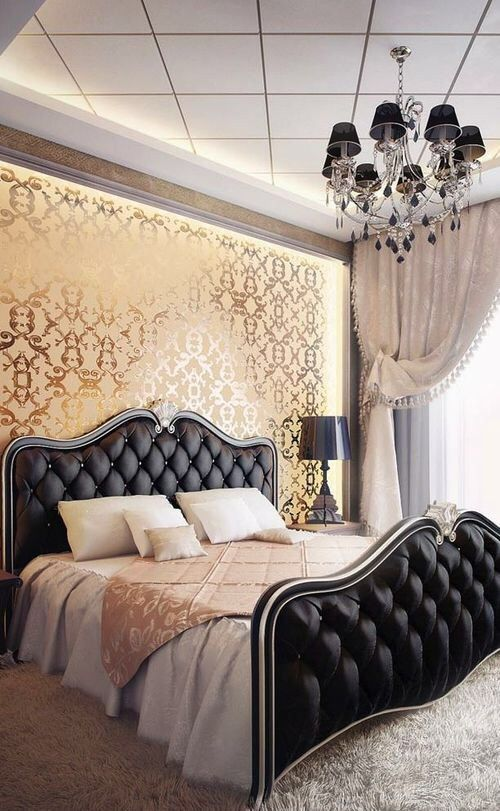 Luxury black satin headboard idea #headboard #bedroom #homedecor #decoratingideas #decorhomeideas