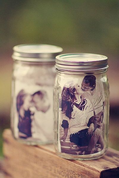 mason jars with pictures inside