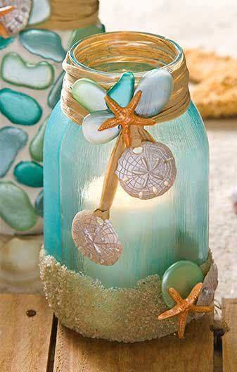 Nautical summer jar decor idea #jars #recycledjars #decoratingideas #homedecor #decorating #diy #home #decorhomeideas