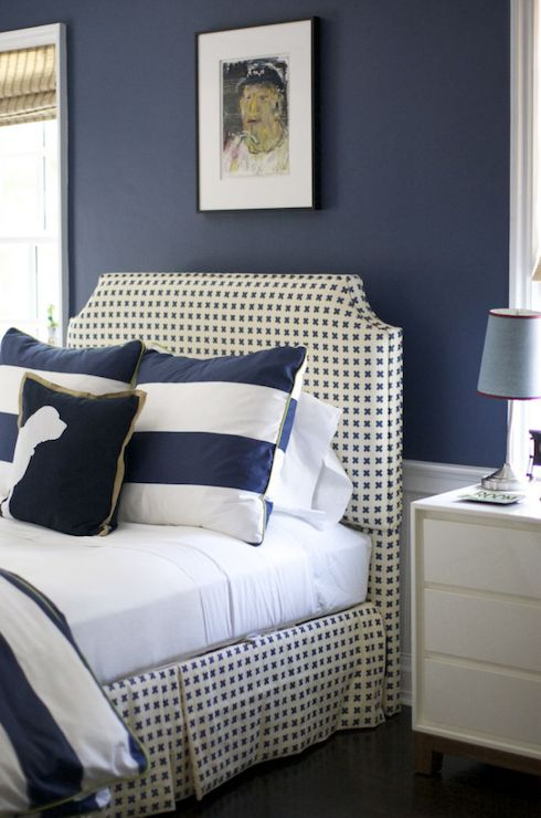 Navy design headboard idea #headboard #bedroom #homedecor #decoratingideas #decorhomeideas