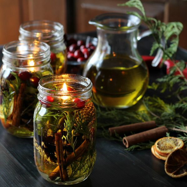 oil christmas candle lamp jar idea