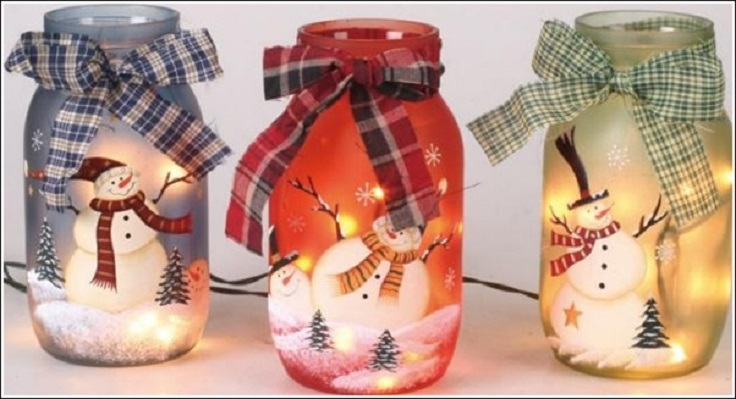 painted snowman mason jars