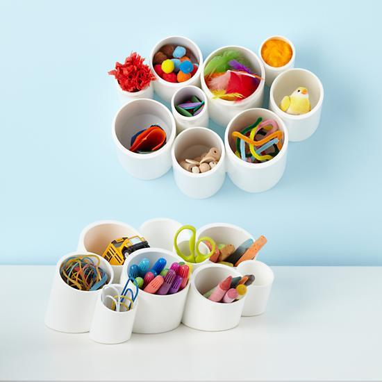 Pvc pipe desk organizing cups idea #diy #storage #homedecor #decoratingideas #pvc #decorhomeideas