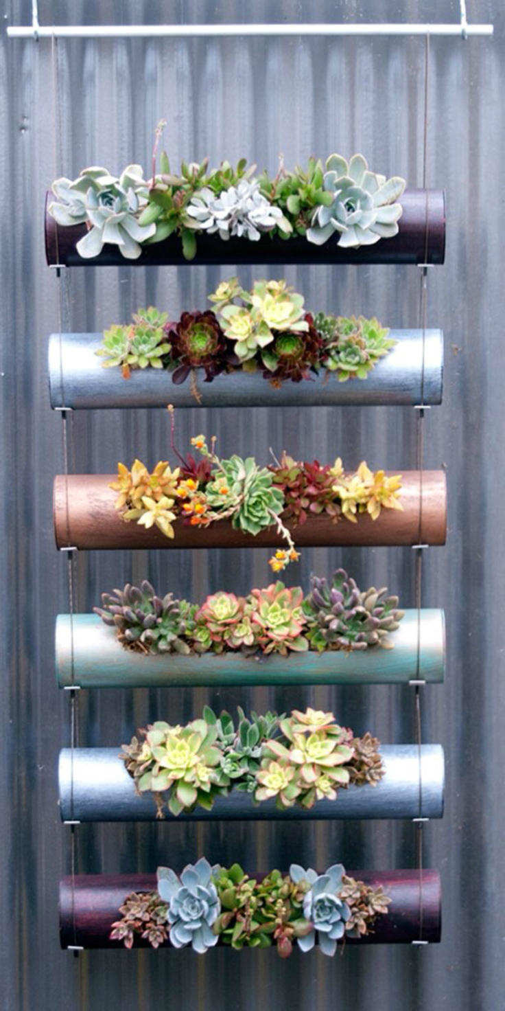 Pvc pipe made hanging succulent garden idea #diy #pvcpipes #homedecor #decoratingideas #pvc #decorhomeideas #succulents