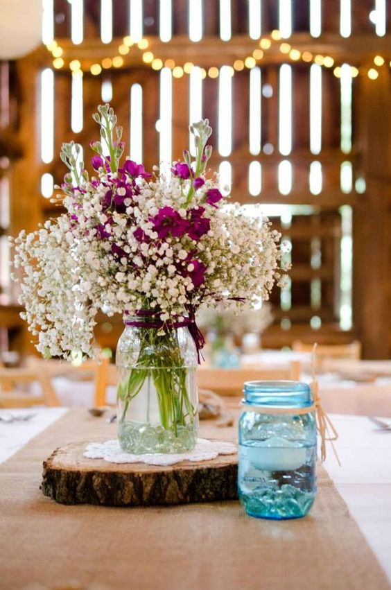 rustic wedding jar decor idea