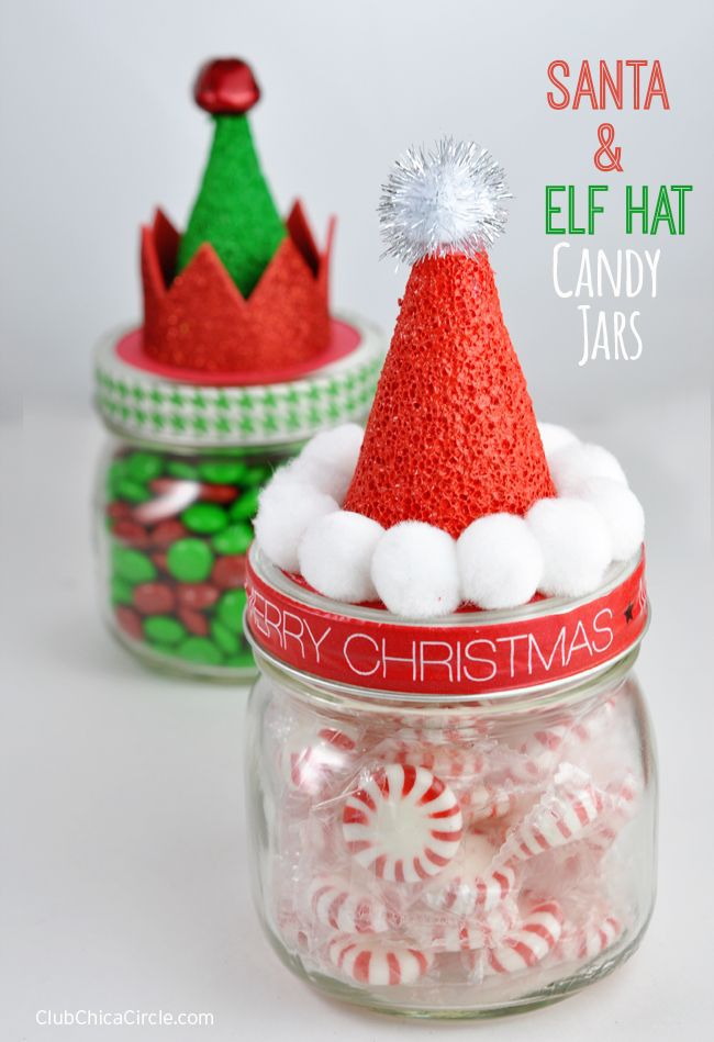 Santa and elf hat jars decor idea #xmas #x-mas #christmas #christmasdecor #christmasjars #jars #decoration #christmasdecorations #decoratingideas #festive #decorhomeideas