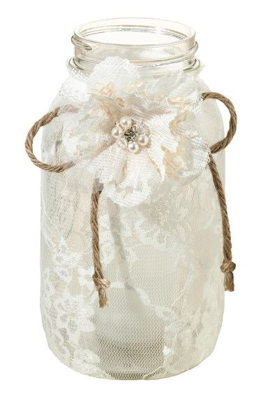 Shabby chic wedding jar idea #jars #diy #homedecor #wedding #decoratingideas #garden #outdoor #decorhomeideas