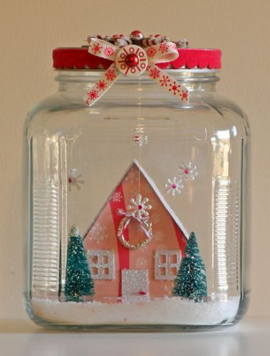 snow house jar decor idea