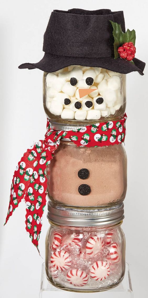 snowman jars decor idea