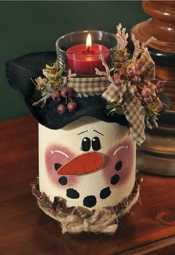 snowman candle jar paint idea