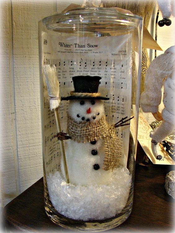 snowman jar christmas decor idea
