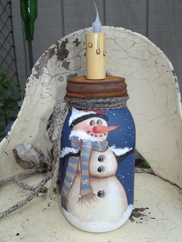 snowman mason jar lamp idea