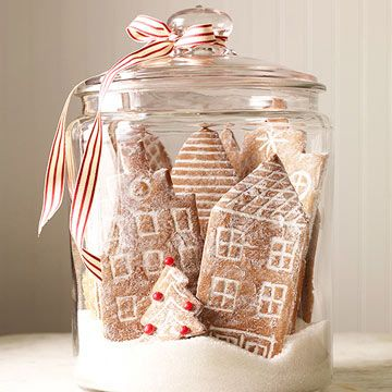 snowy cookie city jar decor idea