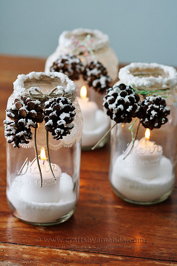 Snowy pinecone candle jars idea #xmas #x-mas #christmas #christmasdecor #christmasjars #jars #decoration #christmasdecorations #decoratingideas #festive #decorhomeideas