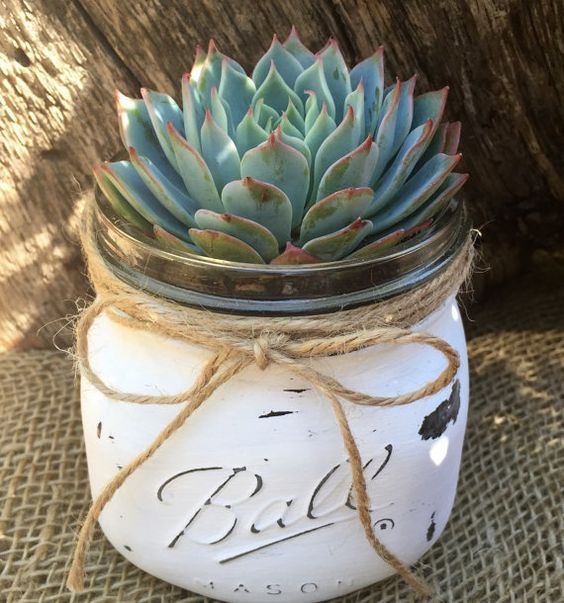 Succulent mason jar decor idea #jars #recycledjars #decoratingideas #homedecor #decorating #diy #home #decorhomeideas
