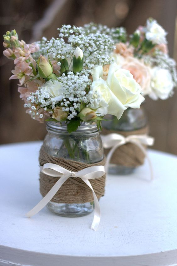Twine wrapped wedding jar decor idea #jars #diy #homedecor #wedding #decoratingideas #garden #outdoor #decorhomeideas