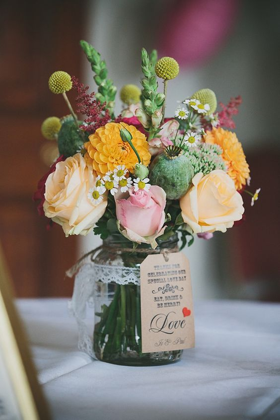 vintage wedding jar roses idea