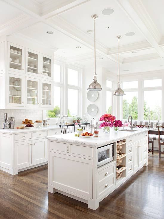 white kitchen wooden floor idea