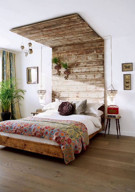 Wood headboard bed style #headboard #bedroom #homedecor #decoratingideas #decorhomeideas