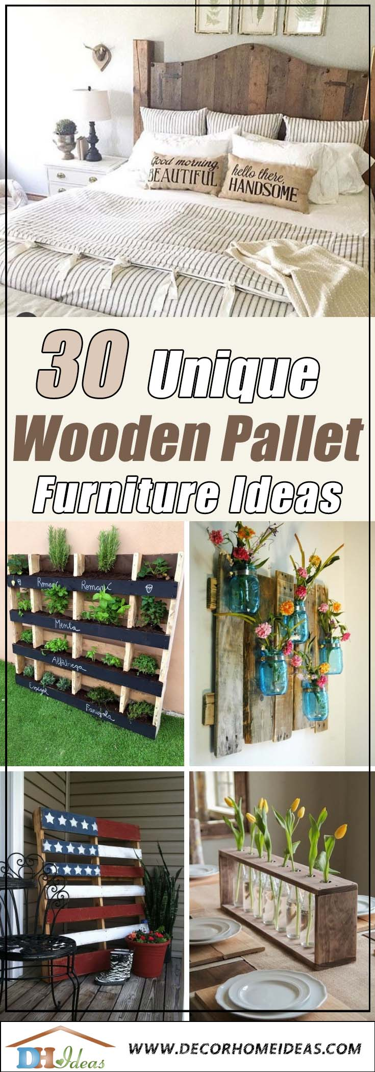30 Ways of Turning Wooden Pallets Into Unique Pieces of Furniture | Get some amazing ideas on DIY wooden pallet furniture and decoration. #pallet #pallets #diy #old #furniture #makeover #repurpose #wooden #wood #decoratingideas #decorhomeideas