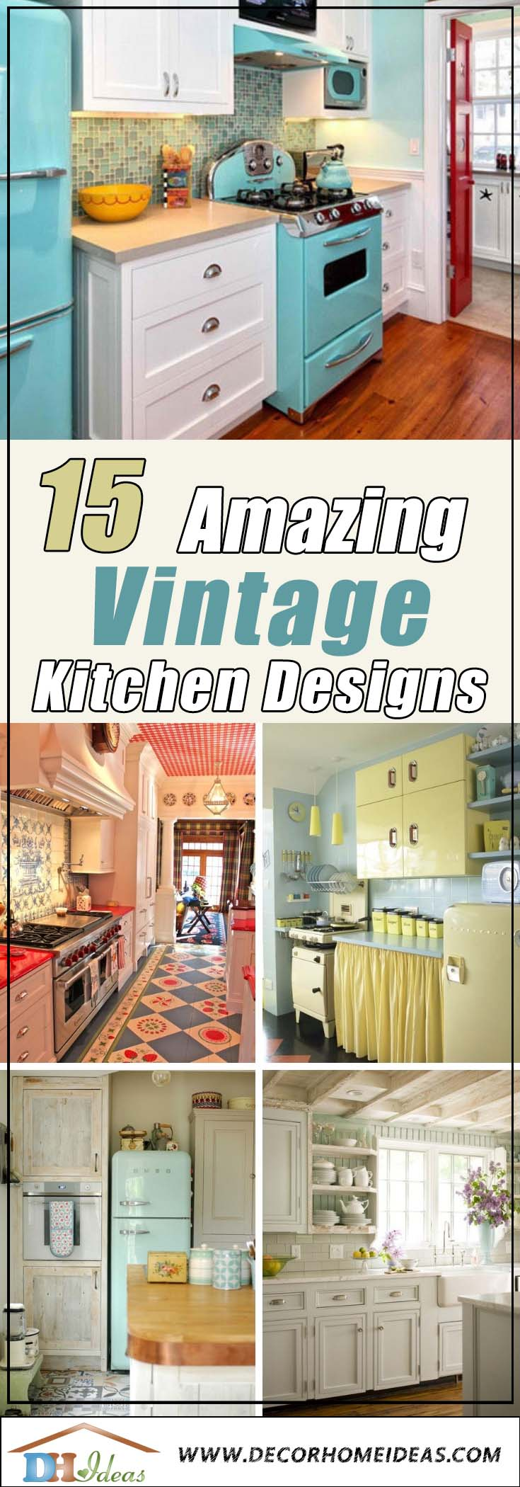 15 Wonderful Vintage Kitchen Designs To Inspire You | Create some vintage look in your kitchen with these amazing ideas. #kitchen #vintage #color #bold #design #interiordesign #homedecor #decorhomeideas