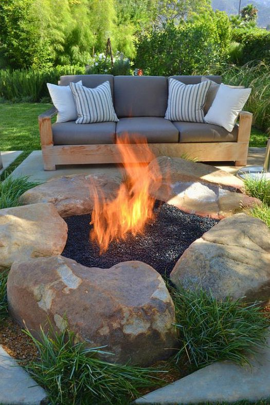 awesome contemporary patio with natural diy fire pit idea