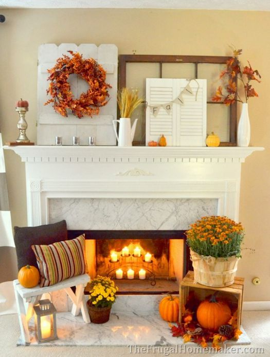 Beautiful fall mantel decoration idea #falldecor #mantel #manteldecor #homedecor #decoratingideas #decorhomeideas