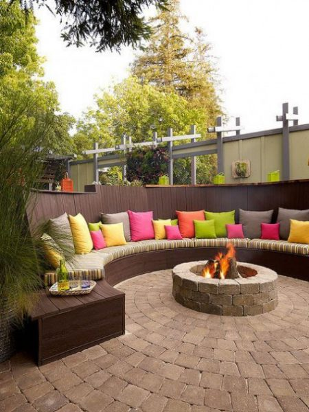 beautiful round fire pit patio idea