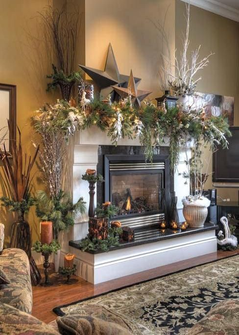 Beautiful rustic Christmas mantel decoration idea #xmas #x-mas #christmas #mantel #homedecor #decoratingideas #festive #decorhomeideas