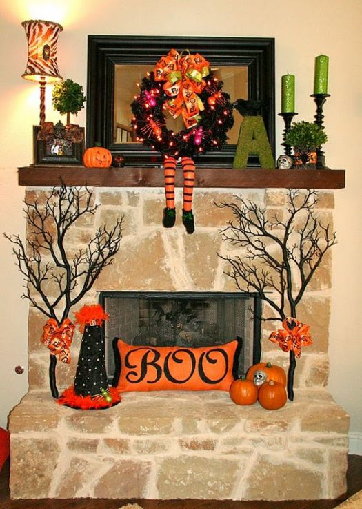 Boo Autumn mantel decoration idea #falldecor #mantel #manteldecor #homedecor #decoratingideas #decorhomeideas