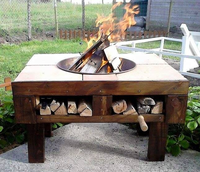 Do it yourself pallet patio fire pit table #firepit #exterior #patio #decoratingideas #cozy #decor #garden #backyard #fire #design #decorhomeideas