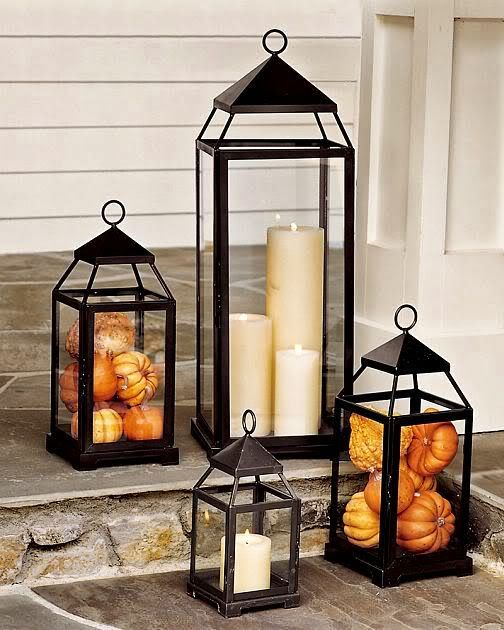 Fall decoration candle holder front porch idea #frontdoor #porch #decor #falldecor #pumpkin #autumn #decoratingideas #homedecor #decorhomeideas