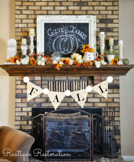 Fall flags mantel decoration idea #falldecor #mantel #manteldecor #homedecor #decoratingideas #decorhomeideas
