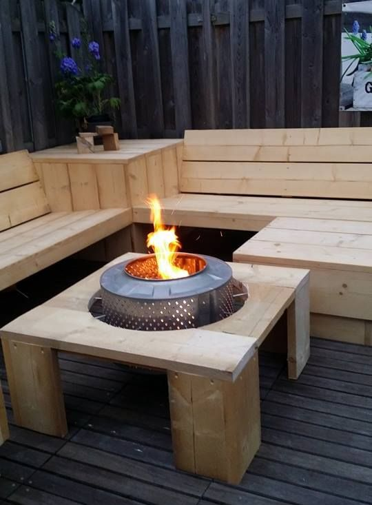 fire pit made of old washing machine low cost idea