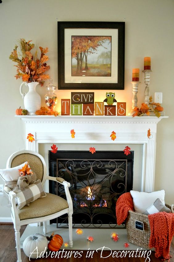 Give thanks Autumn mantel decoration idea #falldecor #mantel #manteldecor #homedecor #decoratingideas #decorhomeideas