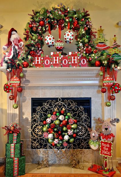 Christmas mantel great decoration idea #xmas #x-mas #christmas #mantel #homedecor #decoratingideas #festive #decorhomeideas