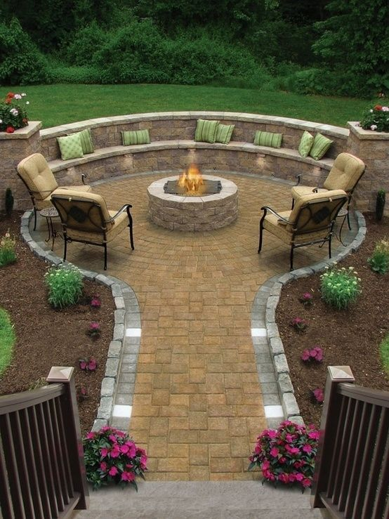 lovely stone decorated fire pit idea