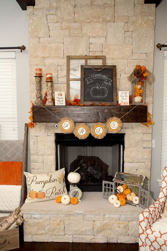 Pumpkins patch Fall mantel decoration idea #falldecor #mantel #manteldecor #homedecor #decoratingideas #decorhomeideas