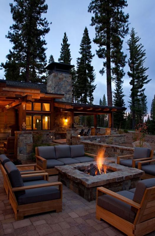 Rustic home fire pit design idea #firepit #exterior #patio #decoratingideas #cozy #decor #garden #backyard #fire #design #decorhomeideas