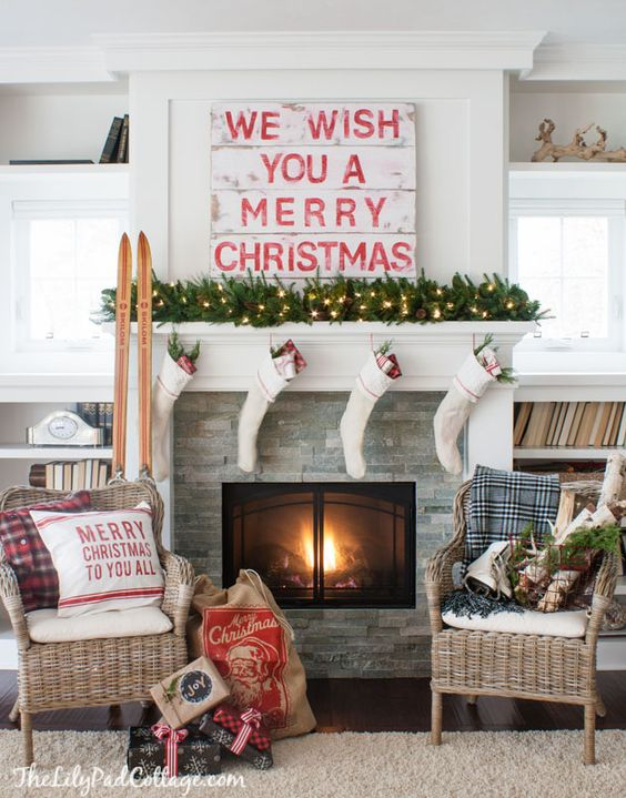 Wish you Merry Christmas mantel decoration #xmas #x-mas #christmas #mantel #homedecor #decoratingideas #festive #decorhomeideas