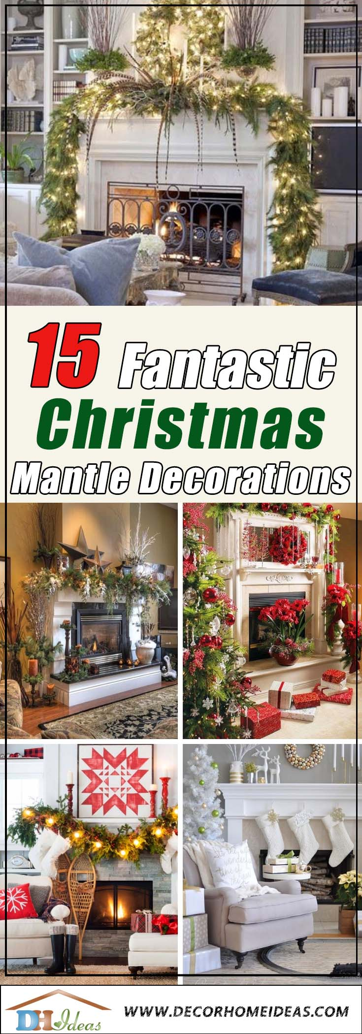 15 Ways To Add Christmas Cheer To Your Mantel | Decorate your mantel with some Christmas spirit. #xmas #x-mas #christmas #mantel #homedecor #decoratingideas #festive #decorhomeideas