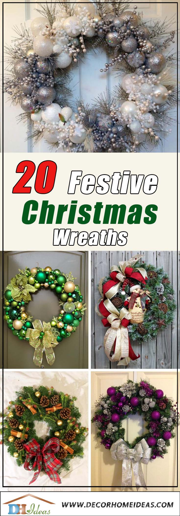 20 Festive Christmas Wreaths You Will Love To Have | DIY Christmas wreaths in all colors and forms. #diy #xmas #x-mas #christmas #wreath #christmasdecor #decoration #decoratingideas #festive #decorhomeideas