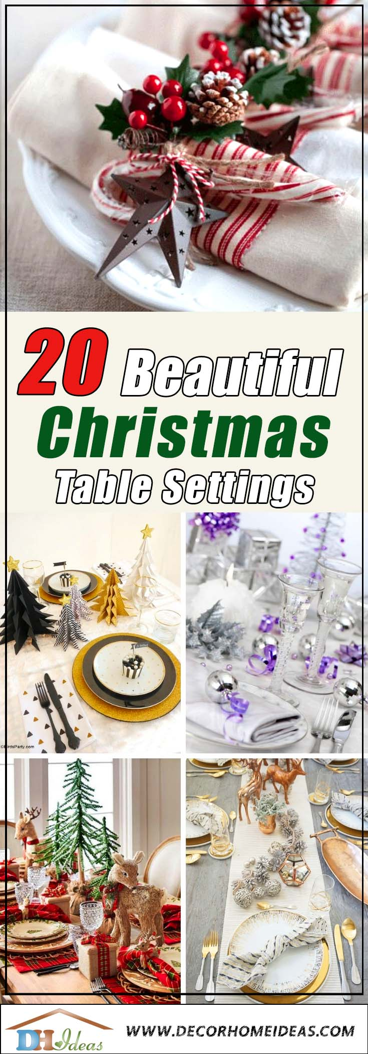 20 Beautiful Christmas Table Setting Ideas To Bring Warmth At Home | #xmas #x-mas #christmas #tablesetting #homedecor #decoratingideas #centerpieces #festive #decorhomeideas