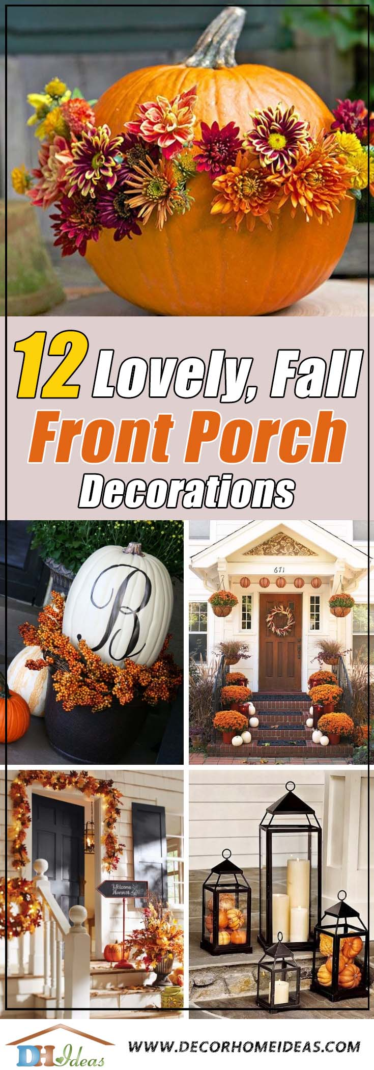 15 Lovely Fall Front Porch Decorating Ideas | Inspire yourself with some great fall front door and porch decor ideas #frontdoor #porch #decor #falldecor #pumpkin #autumn #decoratingideas #homedecor #decorhomeideas