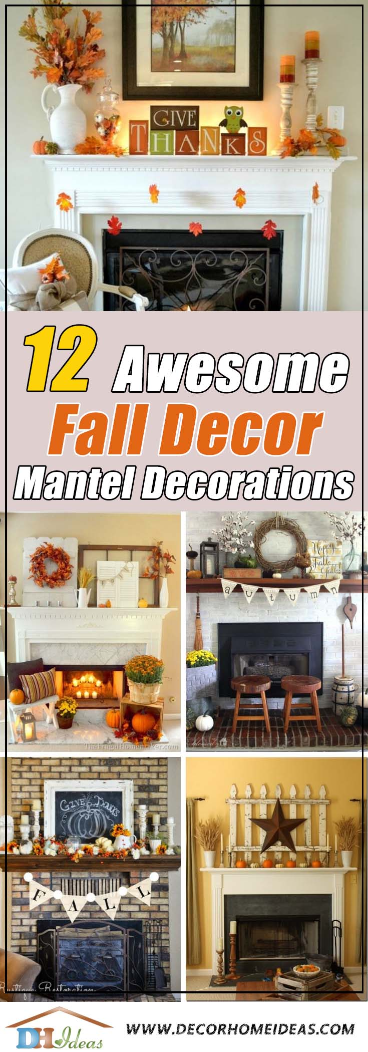 12 Autumn Decor Mantle Ideas That Will Inspire You | Decorate your fireplace mantel with some fall inspired accessories and decors #falldecor #mantel #manteldecor #homedecor #decoratingideas #decorhomeideas
