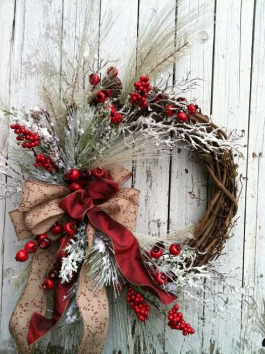 Christmas wreath red ribbon idea #diy #xmas #x-mas #christmas #wreath #christmasdecor #decoration #decoratingideas #festive #decorhomeideas