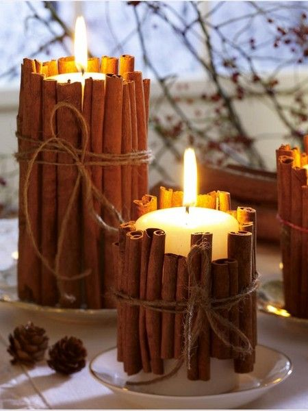 Cinnamon sticks candles christmas decoration idea #xmas #x-mas #christmas #christmasdecor #decoration #decoratingideas #festive #decorhomeideas