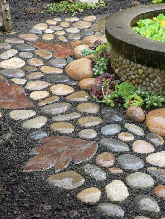 gorgeous rock pathway garden idea