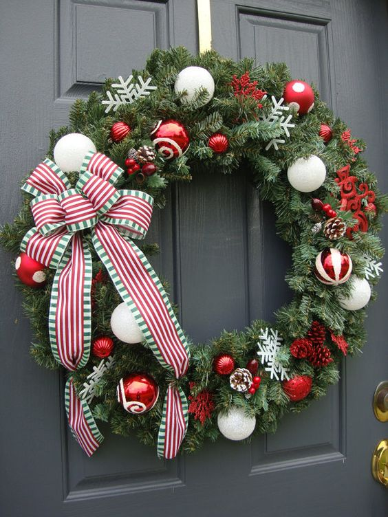 red and white Christmas wreath ribbon