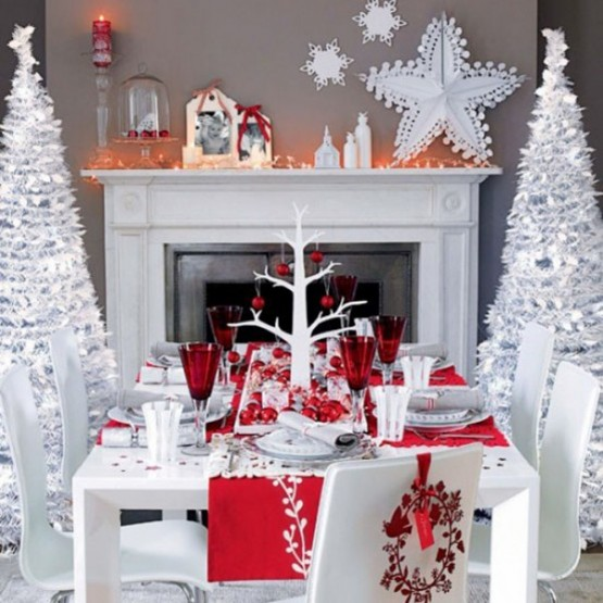 Red christmas table decor idea #xmas #x-mas #christmas #christmasdecor #decoration #decoratingideas #festive #decorhomeideas